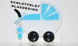 Baby carriage Light blue of Glass from Schlotfeldts-Glasdesign Svaneke on Bornholm
