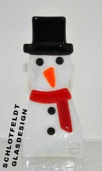 Stand snowman with light of glass from Schlotfeldts-Glasdesign Svaneke on Bornholm