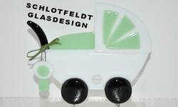 Baby carriage Green of Glass from Schlotfeldts-Glasdesign Svaneke on Bornholm
