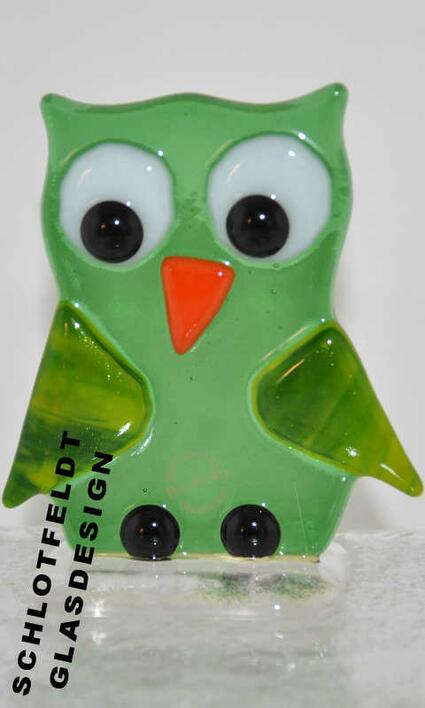 Green Owl of Glass from Schlotfeldts-Glasdesign Svaneke on Bornholm