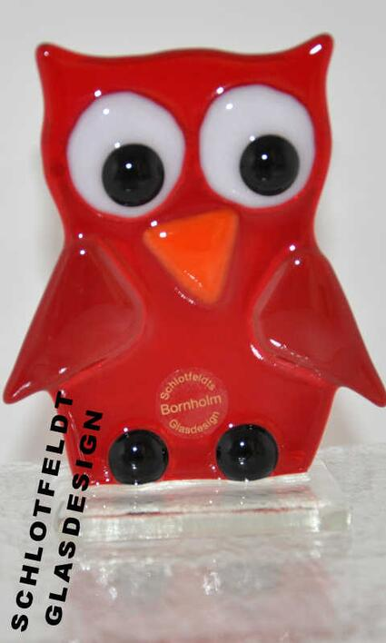 Red Owl of Glass from Schlotfeldts-Glasdesign Svaneke on Bornholm