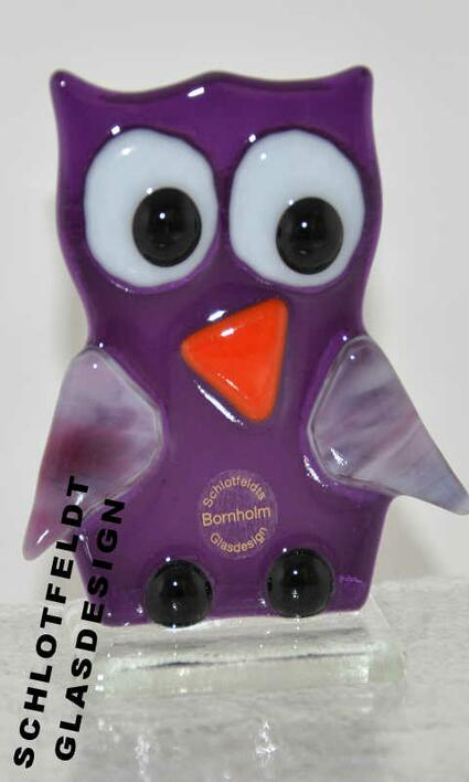 Purple Owl of Glass from Schlotfeldts-Glasdesign Svaneke on Bornholm