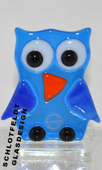 Blue Glass Owl of Glass from Schlotfeldts-Glasdesign Svaneke on Bornholm