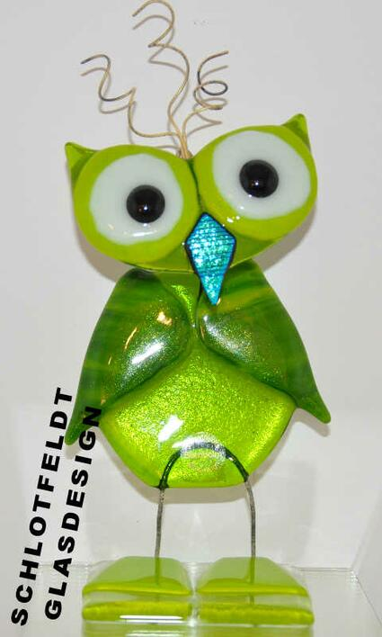 Large Green Glass Owl from Schlotfeldts-Glasdesign Svaneke on Bornholm