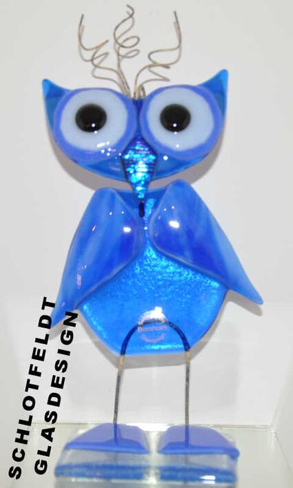 Big Blue Glass Owl from Schlotfeldts-Glasdesign Svaneke on Bornholm