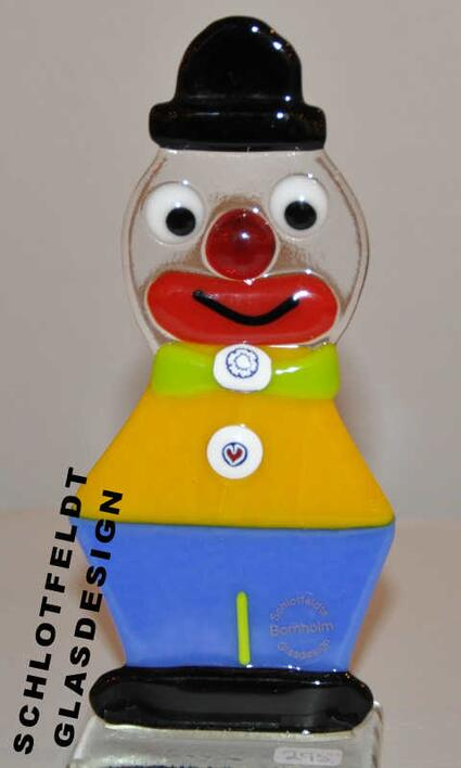 Clown Yellow Blue of Glass from Schlotfeldts-Glasdesign Svaneke on Bornholm