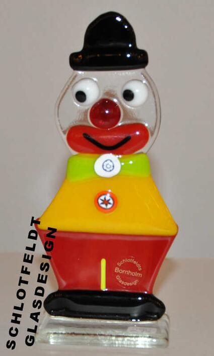 Clown Yellow Red of Glass from Schlotfeldts-Glasdesign Svaneke on Bornholm