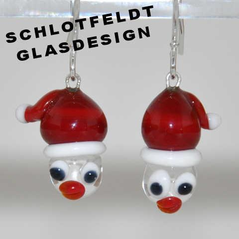 Santa Earrings of Glass with Silver Hook from Schlotfeldts-Glasdesign Svaneke on Bornholm.