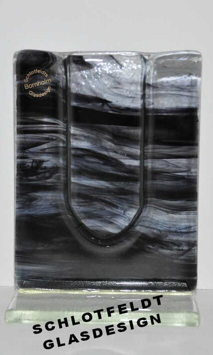 Stand Vase Black Glass Veil from Schlotfeldts-Glasdesign Svaneke on Bornholm
