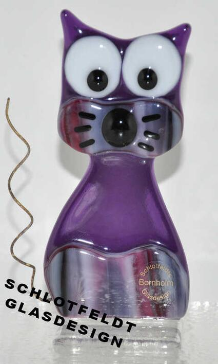 Small Purple Cat of Glass from Schlotfeldts-Glasdesign Svaneke on Bornholm