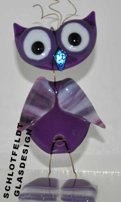 Big Purple Glass Owl from Schlotfeldts-Glasdesign Svaneke on Bornholm