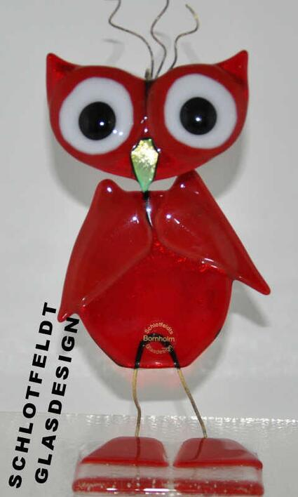 Big Red Glass Owl from Schlotfeldts-Glasdesign Svaneke on Bornholm