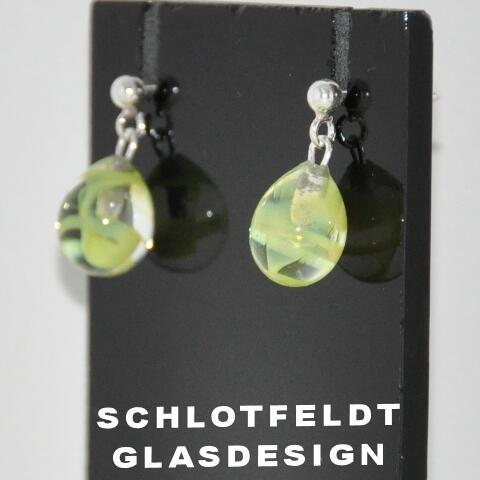 Drop Earrings of Glass with Silver Stick from Schlotfeldts glass design Svaneke on Bornholm.
