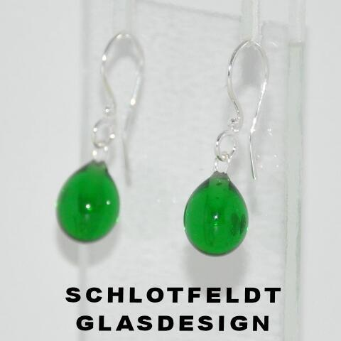 Drop Earrings of Glass with Silver hook from Schlotfeldts glass design Svaneke on Bornholm.