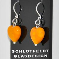 Light Orange Heart Earrings Long
