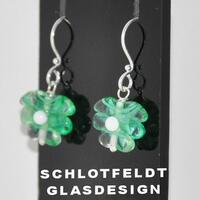 Dark green / Clear Flower Earrings Long